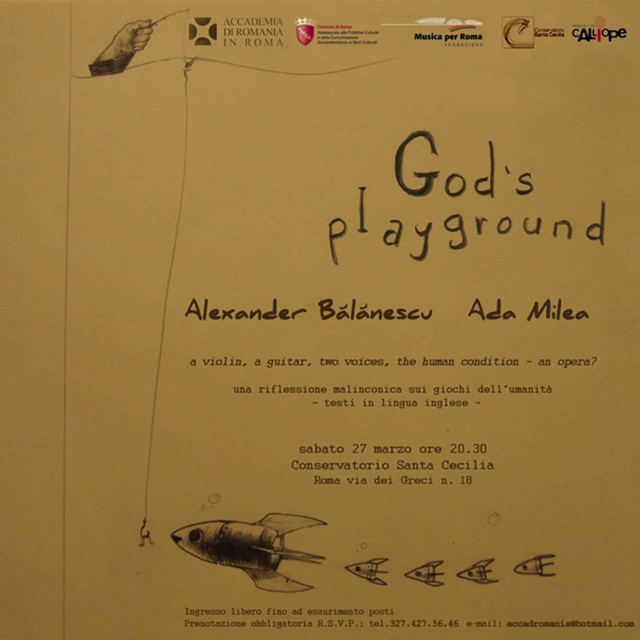 """Alexander Balanescu, <a target=""""_self"""" href=""""http://autori.citatepedia.ro/de.php?a=Ada+Milea"""">Ada Milea</a>' /><br /> <span id=""""more-2370""""></span><br /> """"God's playground"""" este o meditaţie melancolică asupra jocurilor umanităţii, o călătorie ludică printr-o cetate guvernată de legile strâmbe ale oamenilor ridicate la rang de axiome universale. Opera transpune într-un mélange de teatru şi muzică o dimensiune a realităţii cotidiene: personaje post-moderne surprinse în peisaje absurde, microcosmuri paradigmatice pentru societatea contemporană şi ironice interpretări ale stereotipurilor comportamentale.</p> <p>Alexander Bălănescu este unul dintre cei mai vizionari şi inovativi violonişti ai momentului şi totodată un compozitor prolific. Repertoriul său este concentrat pe muzica contemporană, iar printre colaborările sale precedente se numără cele cu Michael Nyman, Jack de Johnette şi John Surman, the Pet Shop Boys.</p> <p><a target=""""_self"""" href=""""http://autori.citatepedia.ro/de.php?a=Ada+Milea"""">Ada Milea</a> este o artistă radicală, interpret şi compozitor, apreciată atât pentru compoziţiile sale revoluţionare, cât şi pentru coloanele sonore ale unor renumite piese de teatru. Experimentele sale se situează la graniţa dintre muzică şi teatru, iar printre ultimele ei proiecte se numără spectacolele """"Don Quijote"""" şi """"Apolodor"""", ambele jucate pe marile scene europene.</p> <!-- AddThis Advanced Settings above via filter on the_content --><!-- AddThis Advanced Settings below via filter on the_content --><!-- AddThis Advanced Settings generic via filter on the_content --><!-- AddThis Share Buttons above via filter on the_content --><!-- AddThis Share Buttons below via filter on the_content --><div class=""""at-below-post addthis_tool"""" data-url=""""https://blog.citatepedia.ro/gods-playground.htm""""></div><!-- AddThis Share Buttons generic via filter on the_content --><small style=""""float:right""""><div id=""""post-ratings-2370"""" class=""""post-ratings"""" itemscope itemtype=""""http://schema.org/Article"""